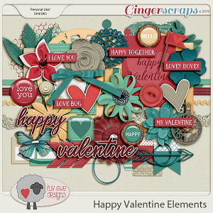 Happy Valentine Elements by Luv Ewe Designs