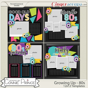 Growing Up 80's - 12x12 Templates (CU Ok) by Connie Prince