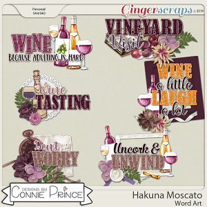 Hakuna Moscato - Word Art Pack by Connie Prince