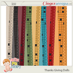Thanksgiving Dolls Pattern Papers
