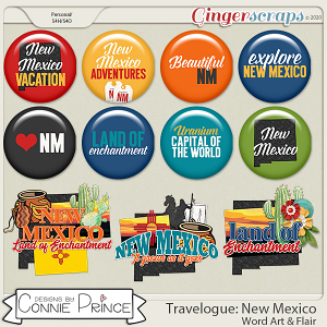 Travelogue New Mexico - Word Art & Flair Pack by Connie Prince