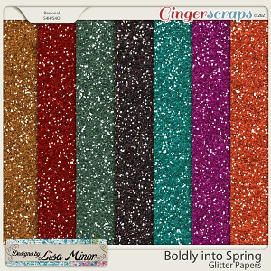 Boldly into Spring Glitter Papers from Designs by Lisa Minor