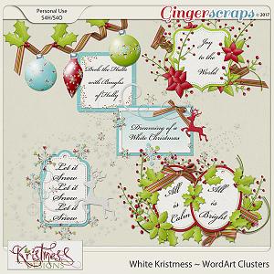 White Kristmess WordArt Clusters
