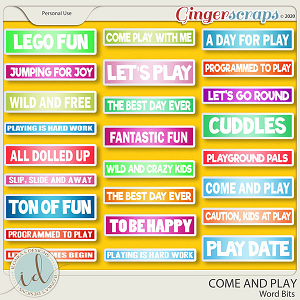 Come And Play Word Bits by Ilonka's Designs