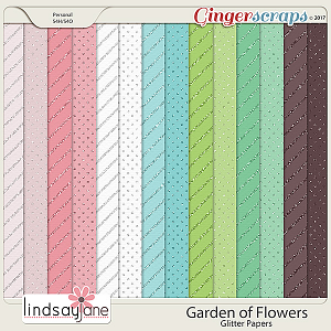 Garden of Flowers Glitter Papers by Lindsay Jane