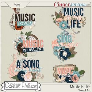 Music Is Life - Word Art Pack by Connie Prince