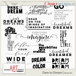 Dare to Dream Word Art