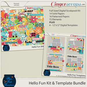 Hello Fun Templates and Digital Scrapbooking Kit Bundle by Miss Fish