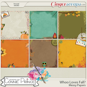 Whoo Loves Fall?  - Messy Papers by Connie Prince & Adrienne Skelton
