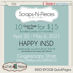 10 Quick Page Packs for $15 iNSD 2021 - Scraps N Pieces