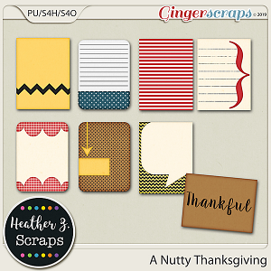 A Nutty Thanksgiving JOURNAL CARDS by Heather Z Scraps