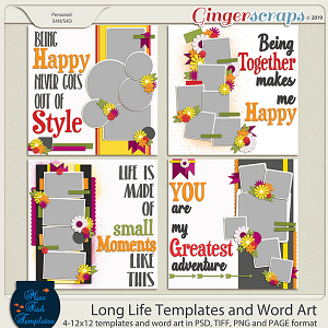 Long Life Templates and Word Art by Miss Fish