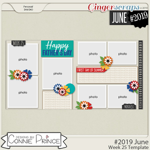 #2019 June - Week 25 Template Pack (CU Ok) by Connie Prince