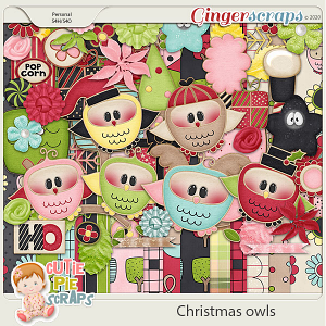 Christmas owls- Digital Scrapbooking Kit