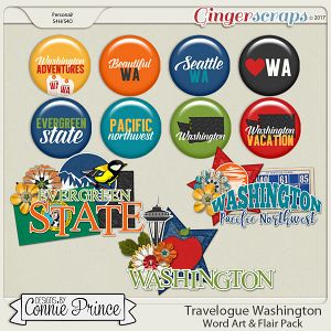 Travelogue Washington - Word Art & Flair Pack