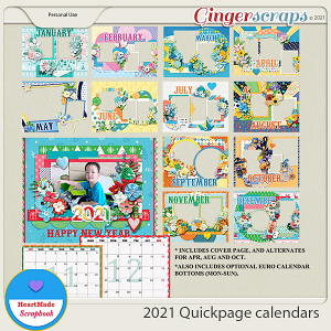 2021 Quickpage calendars by HeartMade Scrapbook