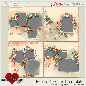Record The Life 4 Templates by CarolW Designs