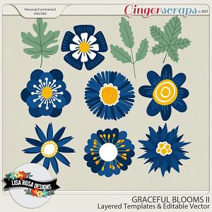Graceful Blooms II CU/PU Layered Templates by Lisa Rosa Designs