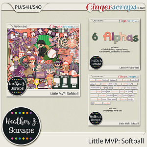 Little MVP: Softball BUNDLE by Heather Z Scraps