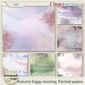 Autumn foggy morning Painted papers