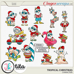 Tropical Christmas Characters by JB Studio and Tita