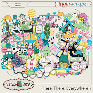 Here, There, Everywhere embellishments by Scraps N Pieces