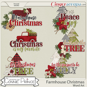 Farmhouse Christmas - Word Art Pack by Connie Prince