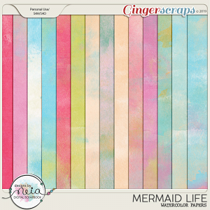 Mermaid Life - Watercolor Papers - by Neia Scraps