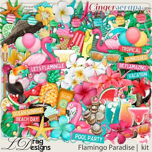 Flamingo Paradise by LDragDesigns