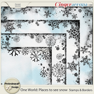 One World: Places to see snow Stamps & Borders