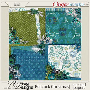 Peacock Christmas: Stacked Papers by LDragDesigns