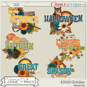 #2020 October - Word Art Pack by Connie Prince