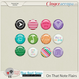 On That Note Flairs by Luv Ewe Designs and Blue Heart Scraps