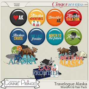 Travelogue Alaska - Word Art & Flair Pack by Connie Prince