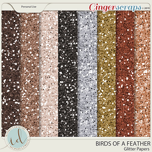 Birds Of A Feather Glitter Papers by Ilonka's Designs