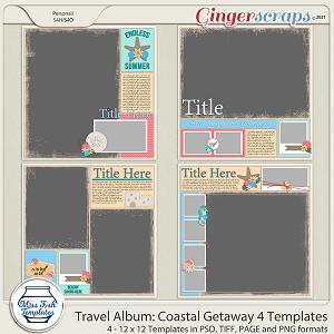 Travel Album Coastal Getaway 4 Templates by Miss Fish