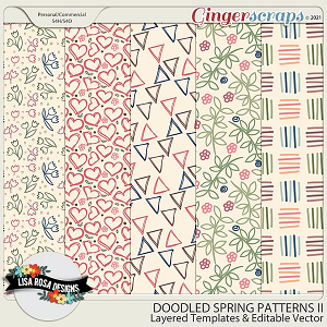 Doodled Spring Patterns II - Layered Templates & Editable Vector by Lisa Rosa Designs