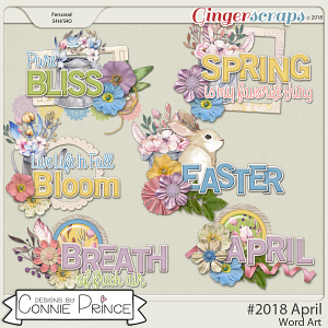 #2018 April - Word Art Pack by Connie Prince