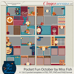 Pocket Fun October by Miss Fish Templates