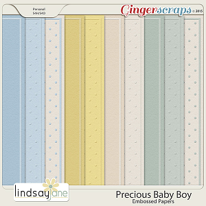 Precious Baby Boy Embossed Papers by Lindsay Jane