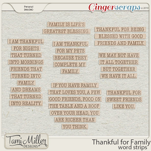 Thankful for Family Word Strips by Tami Miller Designs