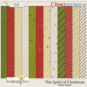 The Spirit of Christmas Glitter Papers by Lindsay Jane