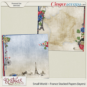 Small World ~ France Stacked Papers (layers)