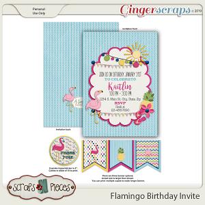 Flamingo Birthday Invitation by Scraps N Pieces