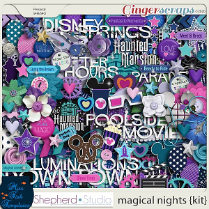 Magical Nights Digital Scrapbook Kit by Miss Fish and Shepherd Studios