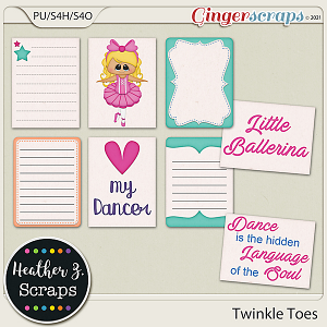 Twinkle Toes JOURNAL CARDS by Heather Z Scraps