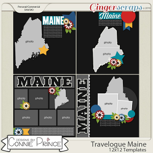 Travelogue Maine - 12x12 Temps (CU Ok) by Connie Prince