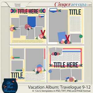 Miss Fish Vacation Album: Travelogue Templates 9-12 by Miss Fish