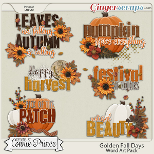 Golden Fall Days - WordArt Pack