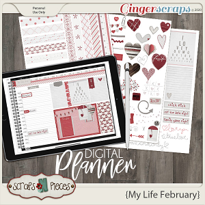 My Life February Planner Pieces - Scraps N Pieces